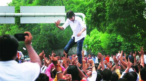 During an ABVP rally in DU's South Campus on Friday. (Source: Express Photo by Oinam Anand)