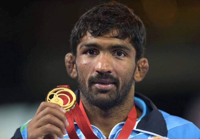 Olympic bronze-medallist Yogeshwar Dutt won his second Commonwealth gold. He dominated the men's 65kg category to ultimately clinch the gold. (Source: PTI)
