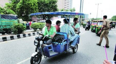 The meetings come after the Delhi High Court order on Thursday directing the city government to stop e-rickshaws from plying as of now. (Source: IE photo by Ravi Kanojia)