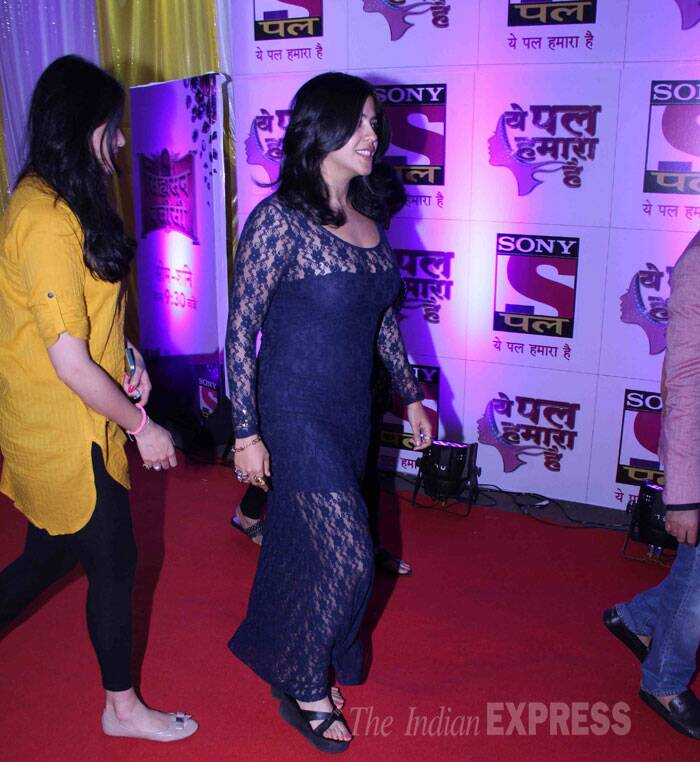 Producer Ekta Kapoor made an entrance in a black lace dress. (Source: Varinder Chawla)