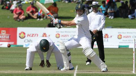 Dean Elgar plays a shot during the Test match against Zimbabwe in Harare. (Source: AP)