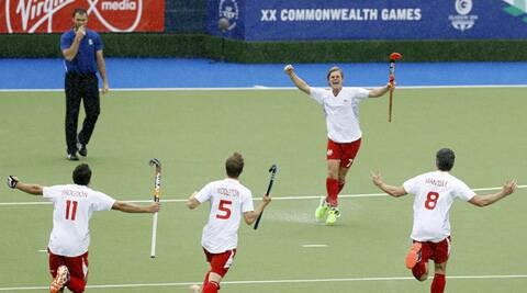 The England team that beat New Zealand to win bronze in the men's hockey. (Source: AP)