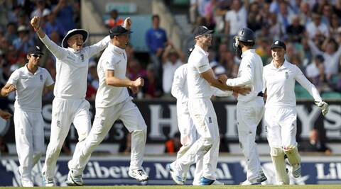 England players their win in the fifth Test over India. England won the series 3-1. (Source: AP)