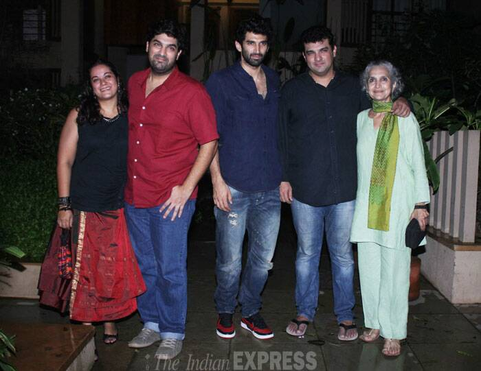 Family snap! Seen here are the three Kapur brothers with mom Salome Roy Kapur and Kunaal's wife Shayonti. (Source: Varinder Chawla)