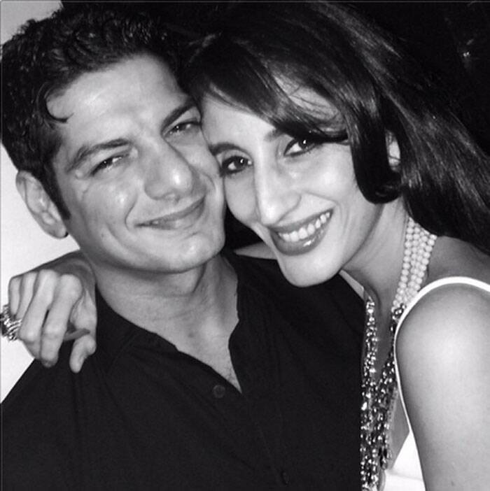 Picture perfect! Sussanne Roshan's sister Farah Ali Khan poses with her husband Dj Aqeel.