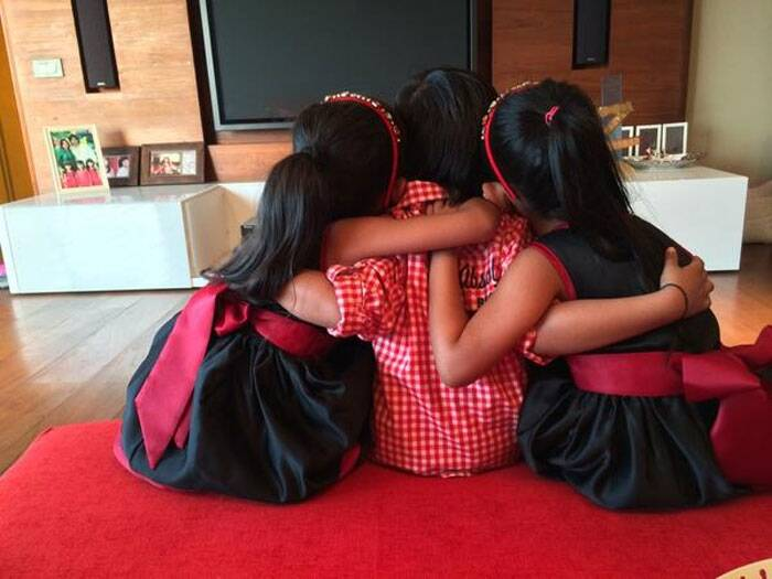 "Choreographer-turned director Farah Khan posted a picture of her three children Czar, Diva and Anya hugging each other, captioned ""Happy Rakhi to all"". (Source: Twitter)"