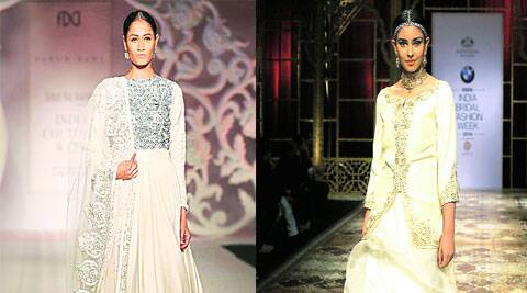A design by Varun Bahl; a model in a creation by Raghvendra Rathore at the India Bridal Fashion Week 2014.