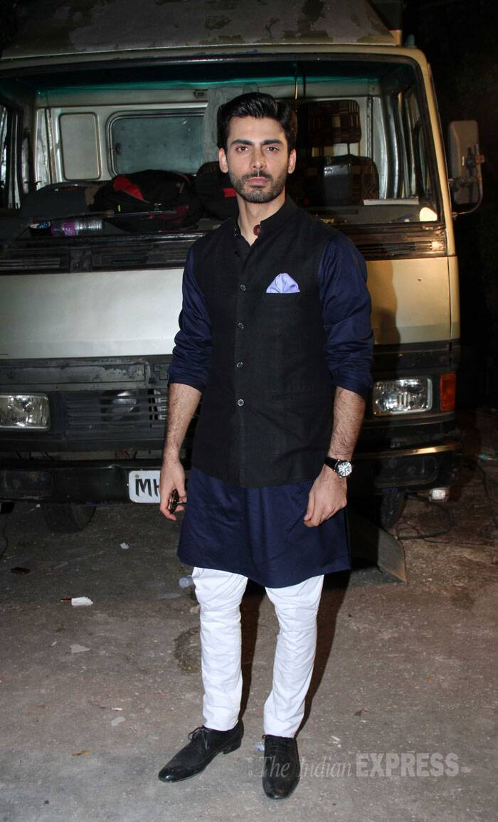 Pakistani actor Fawad Khan, who is making his Bollywood debut with Khoobsurat, was the epitome of style in a dark kurta with a Nehru jacket. (Source: Varinder Chawla)