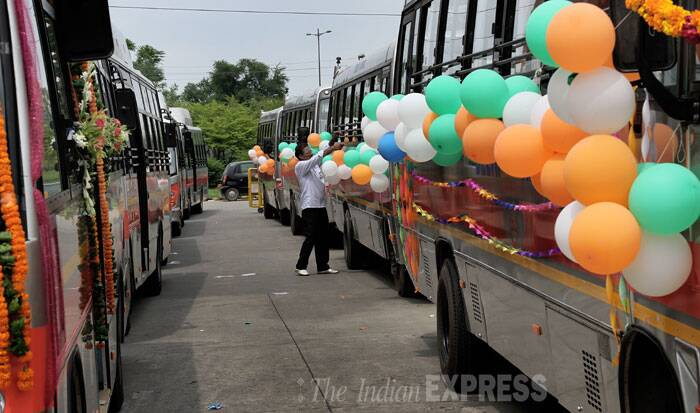 Feeder buses stand ready to be flagged off in New Delhi on Monday.  (Source: Express photo by Ravi Kanojia)