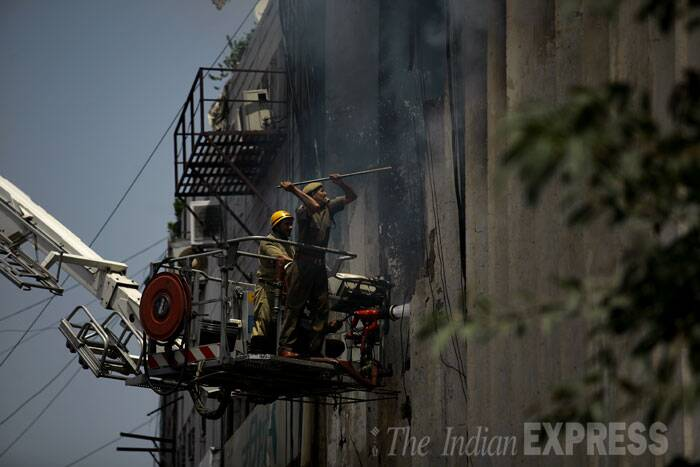According to Delhi Fire Service officials, the fire broke out at NIIT centre located in Rama building. (Source: Express photo Praveen Khanna)