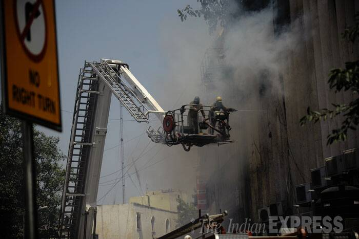 """Fifteen fire tenders are at the spot. The situation is under control. No casualties have been reported so far,"" said Deputy Chief Fire Officer Vipin Kental. (Source: Express photo Praveen Khanna)"