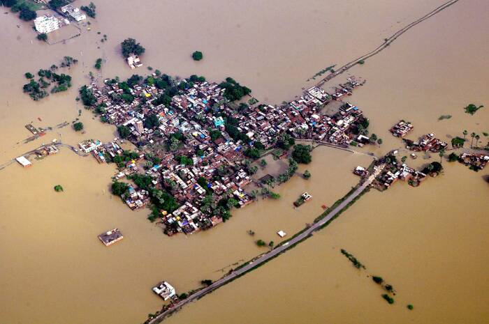 An aerial view of flood affected of Nalanda district of Bihar on Sunday. (Source: PTI)
