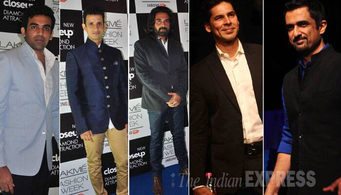 Men at LFW – Cricketer Zaheer Khan, actors Sharman Joshi, Mukul Dev, Dino Morea and Sanjay Suri. (Source: Varinder Chawla)