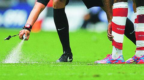 A German accessories company, had supplied the vanishing spray to FIFA in Brazil. Kolkata, though, used a Chinese substitute instead. (Source: Reuters)