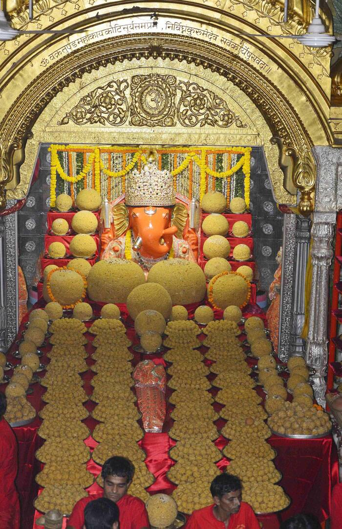 At famous Moti doongari temple in Jaipur, The Ganpati idol is decorated with Modak tableau (Laddu). (Source: PTI)