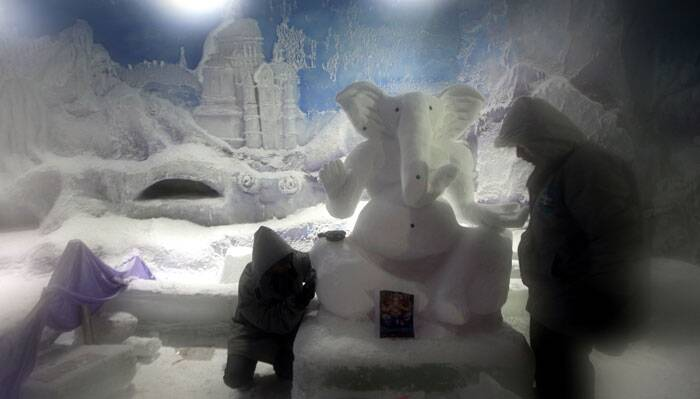 A Ganesh idol made of 500 kilograms of  snow stands 5 feet tall and 4 feet wide in Mumbai. (Source: Express photo by Prashant Nadkar)