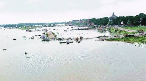 A view of a flooding along the bank of Ganga River in Allahabad on Saturday. (Source: PTI)