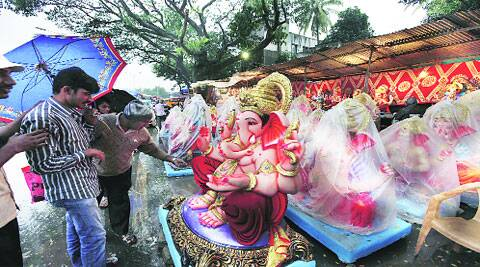 Idols lined up on the eve of Ganesh Chaturthi on Thursday. (Photo: Pavan Khengre)