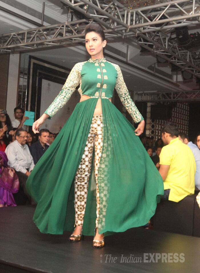 Bigg Boss 7 winner Gauahar Khan was seen in a green flowy outfit. (Source: Express photo by Dilip Kagda)