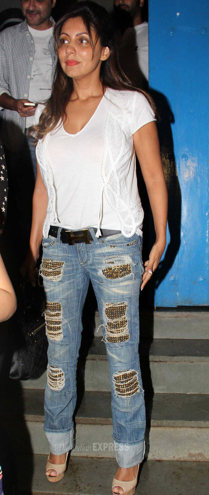 Gauri was casually dressed in denims by Robin's Jeans and white top. (Source: Varinder Chawla)