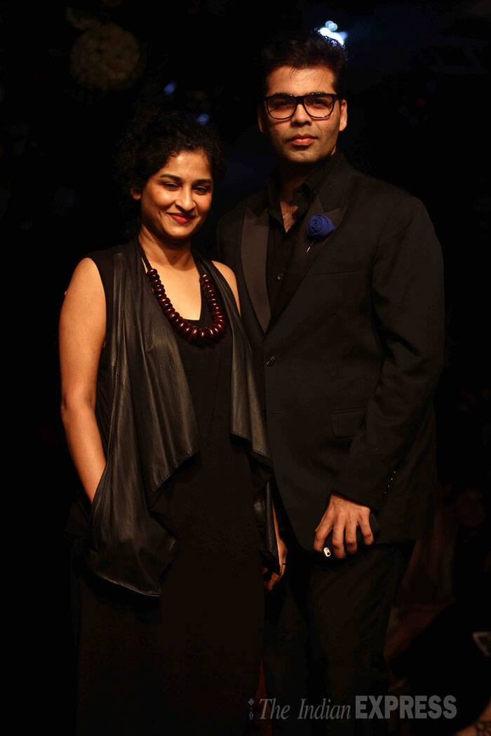 Karan Johar with 'English Vinglish' director Gauri Shinde on the ramp.  (Source: Varinder Chawla)