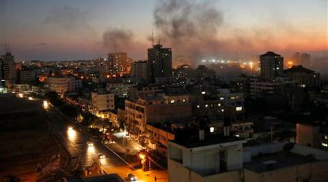 Smoke from fires caused by Israeli strikes rises over Gaza City, Sunday. Source: AP Photo