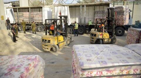 Humanitarian aid to Gaza through the Kerem Shalom Crossing.