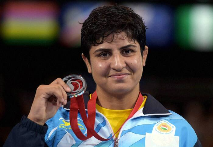 Geetika Jahkar although had to settle for silver after she lost her women's 63kg final bout. (Source: PTI)