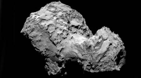A mission to land the first space probe on a comet reaches a major milestone when the unmanned Rosetta spacecraft finally catches up with its quarry on Wednesday Aug 6, 2014. (AP Photo)