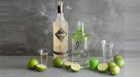 The photo shows Citadelle reserve gin, left, and Gin De France G Vine gin in Concord, N.H. (AP Photo/MatthewMead)