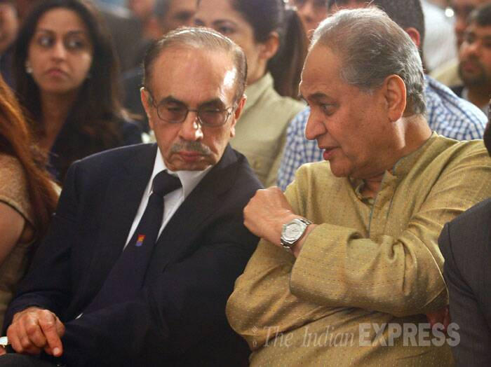 Bajaj Group CMD Rahul Bajaj in conversation with Godrej Chairman Adi Godrej at Express Adda. (Source: Express photo by Amit Chakravarty)