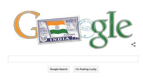 The blue colour stamp with the Indian tricolour is the doodle that comes up when you open the Google's India homepage.