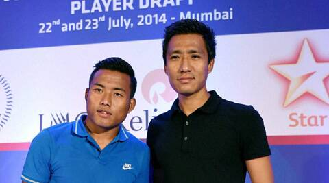 Jeje Lalpekhlua and Gouramangi Singh during the ISL player draft. (Source: AP)