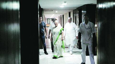 Kerala Governor Sheila Dikshit at Kerala House in New Delhi on Monday. (Source: Express photo by Praveen Khanna)
