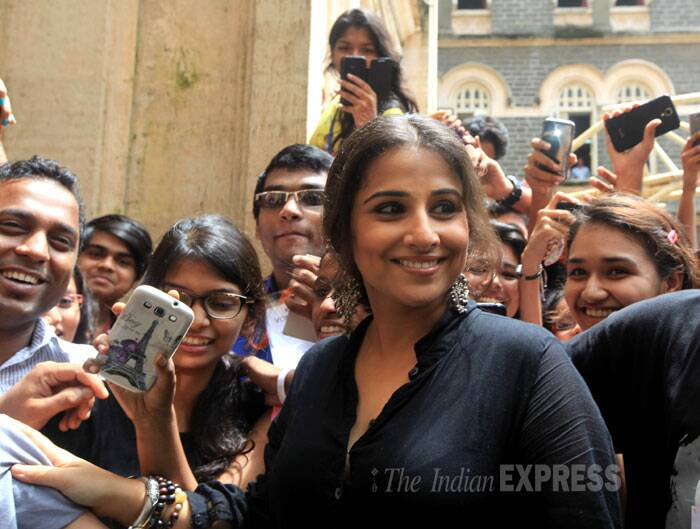 Lady in black  - National Award winning actor Vidya Balan was seen at the unveiling of the SmartCane device for visually impaired at an event held in Mumbai on Tuesday. (Source: Express photo by Ganesh Shirsekar)