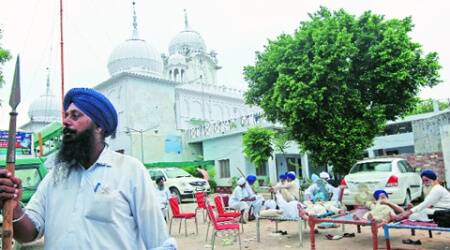 Members of HSGMC at Gurdwara Chhevin Patshahi in Kaithal district of Haryana, on Thursday. (Source: Sumit Malhotra)