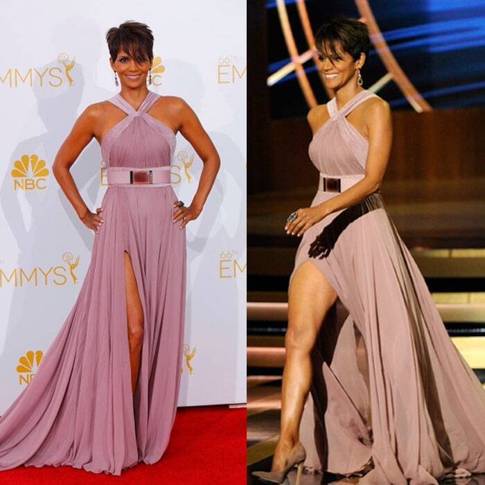 New mom Halle Berry showed off her fantastic body in a gorgeous dusty rose-coloured Elie Saab gown with a thigh-high slit. (Source: Reuters/AP)