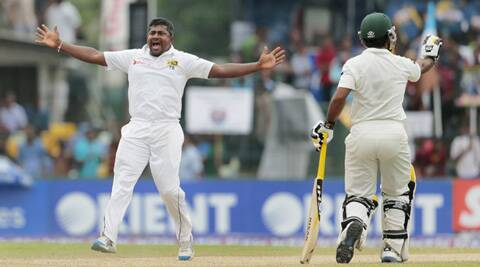 Herath here successfully appealing for the wicket of Younis Khan. (Source: AP)