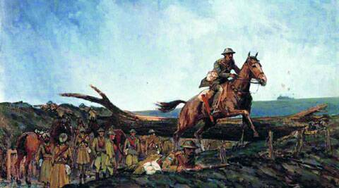 A 1920 painting by Thomas Flowerday Clarke titled The second ride of Lance Dafadar Gobind Singh, VC at Peizieres France Dec 1, 1917. The painting is displayed at the National Army Museum, London