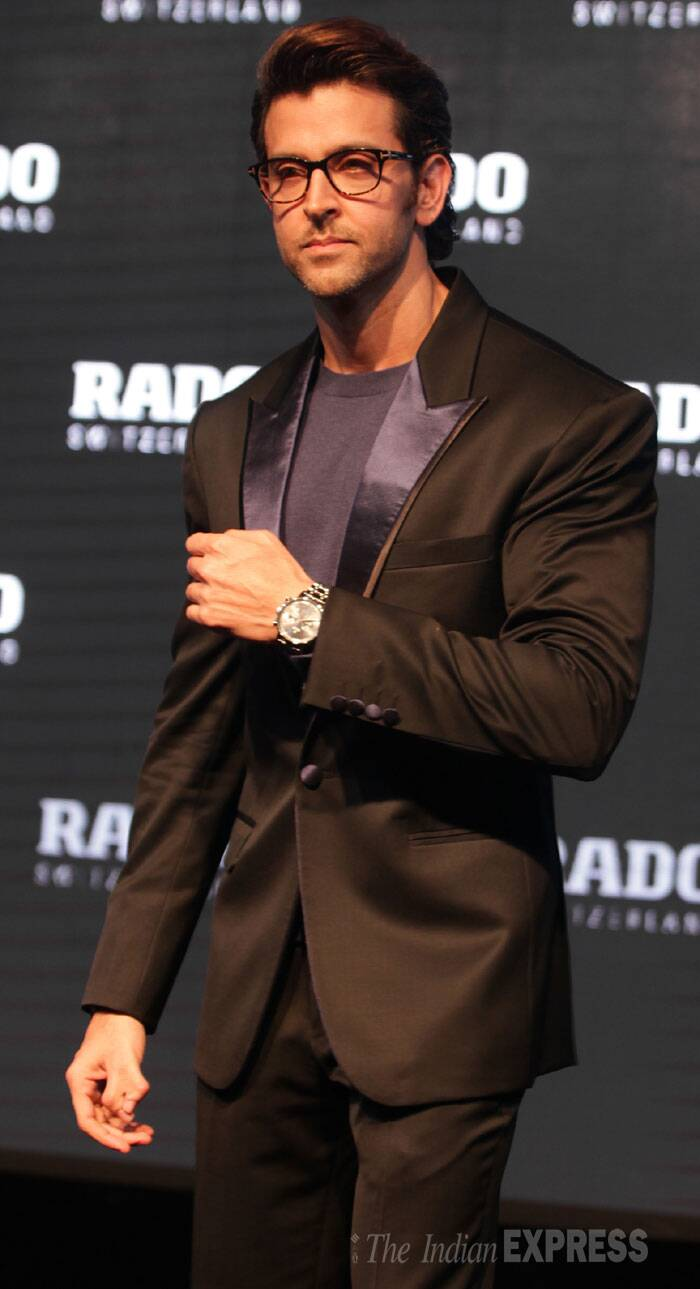 The 'Krrish' actor looked dashing in a dark suit. (Source: Express photo by Amit Mehra)
