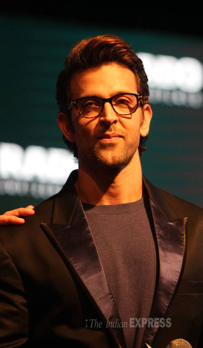Hrithik Roshan showed off his nerdy side in a pair of glasses. (Source: Express photo by Amit Mehra)