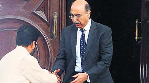 Separatist leader Shabir Shah with Pak High Commissioner Abdul Basit in Delhi, Monday.