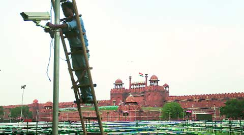 A CCTV camera being installed at Red Fort for Independence Day celebrations. (Source: Express photo by Oinam Anand)
