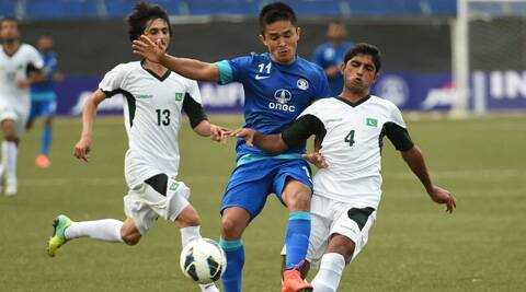 India's Sunil Chettri battles for possession with Pakistan players. (Source: PTI)