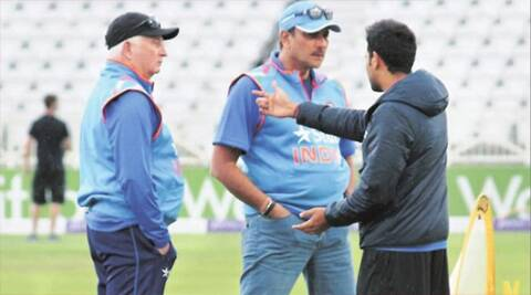 Coach Duncan Fletcher and director Ravi Shastri have a word with Rohit Sharma on Friday. (Express Photo by Daksh Panwar)