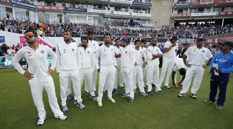 The Indian team stands dejected during the presentation ceremony at The Oval at the end of a gruesome Test series with England. (Source: Reuters)