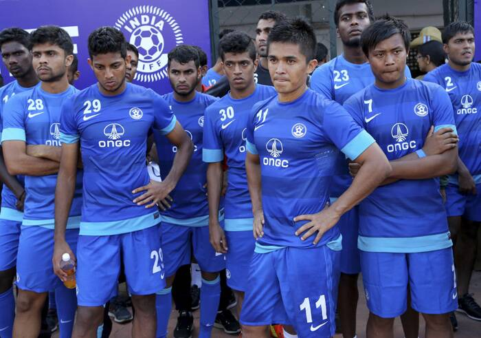 Sunil Chettri with his team after they lost to arch rivals Pakistan 0-2 in Bangalore. (Source: PTI)