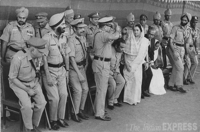 Police Medal winners with Indira Gandhi. (Express archive photo)