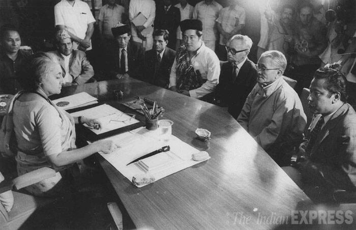 Kazi Lhendeep Dorji and his ministers call on Indira Gandhi. (Express archive photo)