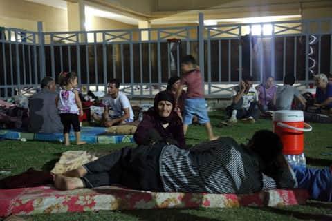 Displaced Iraqi Christians settle at St. Joseph Church in Irbil, northern Iraq.